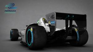 Formel E Auto von hinten