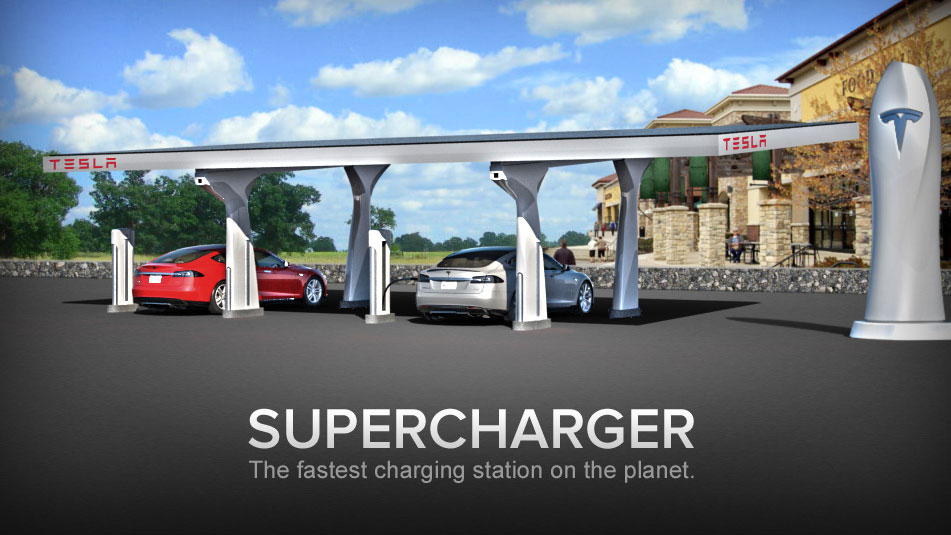 Tesla Supercharger: kostenlos Solarstrom laden, ab 2013 in Europa
